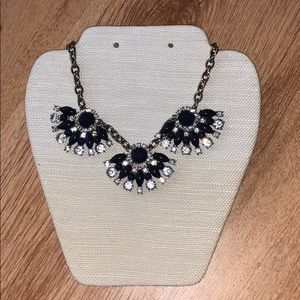 J. Crew Gold and Navy Rhinestone Jeweled Necklace